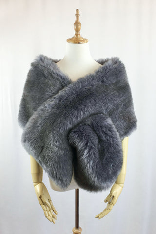 Dark Gray Wedding Bridal Faux Fur Stole Wrap Shawl Cape (Lilian Gry02)