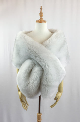 Light Gray Wedding Bridal Fur Stole Wrap Shawl Cape (Lilian Gry03)