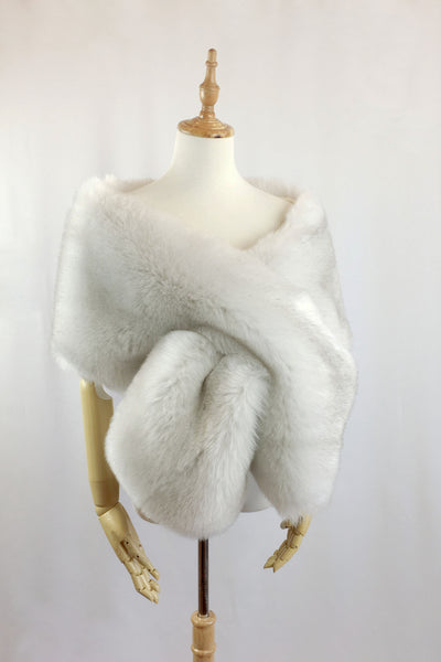 Light Gray Wedding Bridal Fur Stole Wrap Shawl Cape (LilianLGry01)