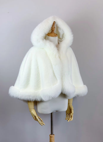 Ivory / White Faux fur bridal cape wrap shawl stole coat (Juliet Wht01)