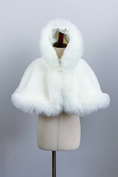 Ivory / White Faux Fur Flower girl Cape Shawl Stole Coat (Amy Wht01)