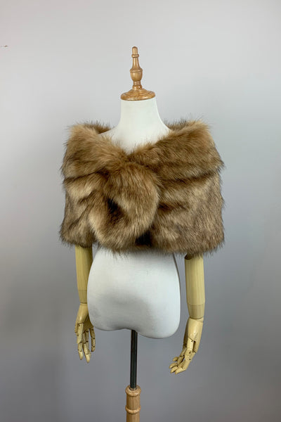 Light Brown Wedding Bridal Faux Fur Stole Wrap Shawl Cape (Blair LBrw03)
