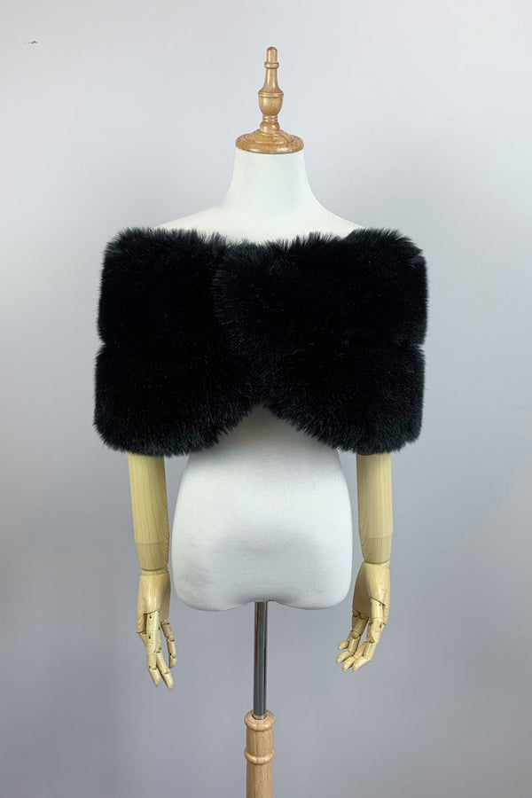 Black Faux Fur Wrap (Penelope Blk01)