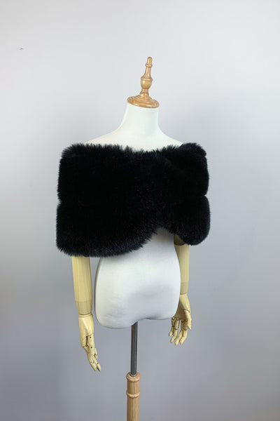Black Faux fur bridal wrap shawl stole cape (Penelope Blk01)