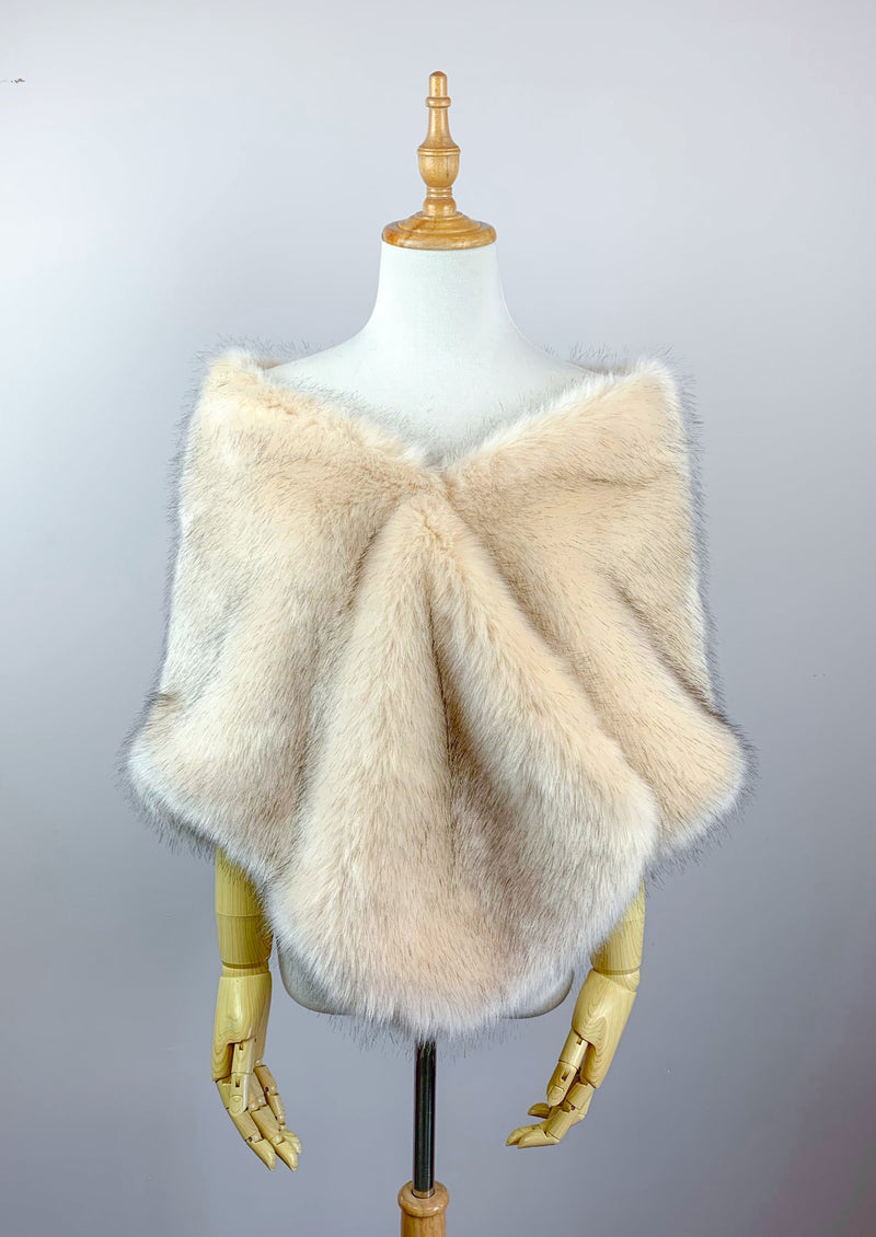 Blush / Beige Fur Shawl (Butterfly Blu03)