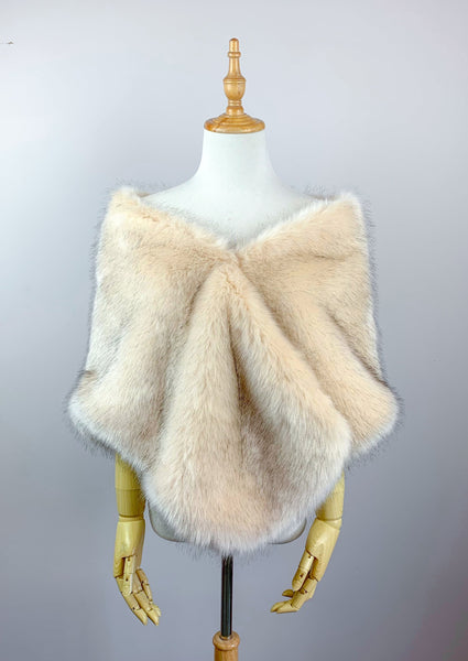 Blush / Beige / Nude Wedding Bridal Faux Fur Stole Wrap Shawl Cape (Butterfly Blu03)