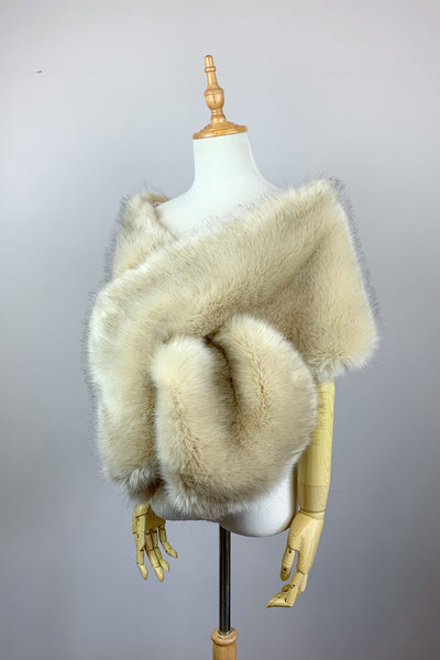 Blush / Beige / Nude / Light Brown Wedding Bridal Faux Fur Stole Wrap Shawl Cape (Lilian Blu03)