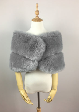 Gray Faux fur bridal wrap shawl stole cape (Penelope Gry01)
