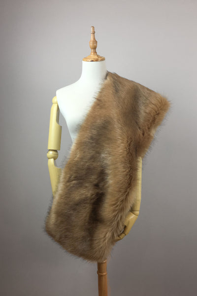 Brown faux fur bridal wrap stole shawl cape (Lilian LBrw03)