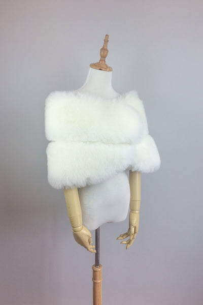 Ivory white bridal faux fur wrap shawl (Penelope Wht01)