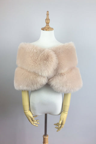 Blush Pink / Light Brown Faux fur bridal wrap shawl stole cape (Penelope Blu01)