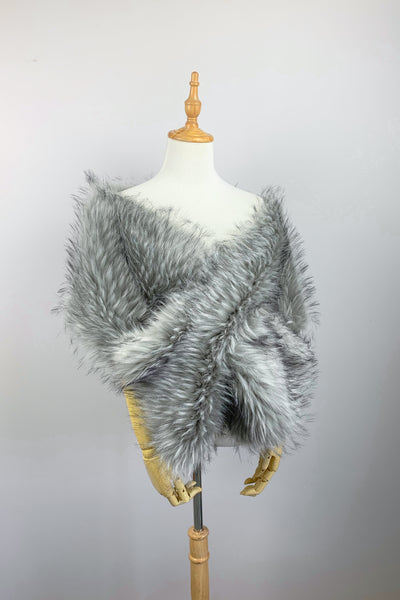 Grey Wedding Bridal Fur Stole Wrap Shawl Cape (Lilian Gry02)