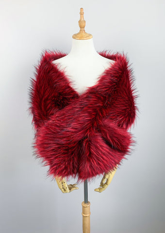 Red Wedding Bridal Fur Stole Wrap Shawl Cape (Lilian Red02)