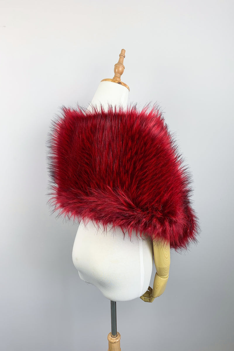Red Fur Shawl (Lilian Red02)