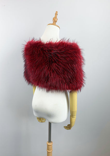 Red Faux fur bridal wrap shawl stole cape (Serena Red02)