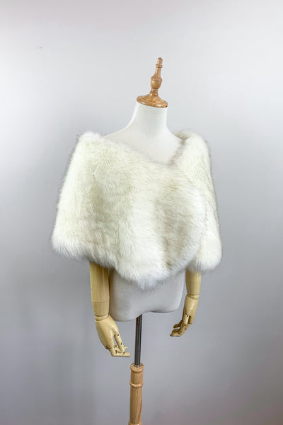 Ivory with Black Faux fur bridal wrap shawl stole cape (Serena SWht03)