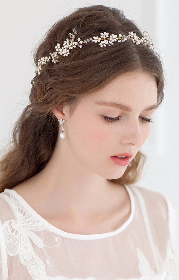 Fresh Water Pearl Wedding Headband, Crown
