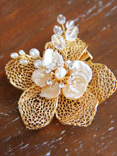 Gold Bridal Flower Hair Clips