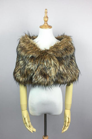 Brown Wedding Bridal Faux Fur Stole Wrap Shawl Cape (Blair Brw02)