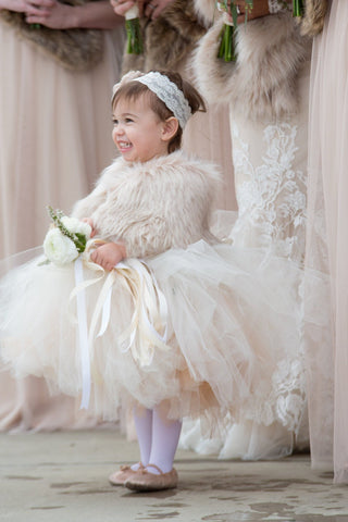 Blush Pink Flower Girl / Junior Bridesmaid Fur Shawl (Kid Blu02)
