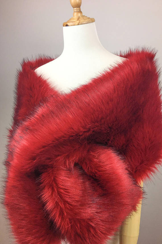 Red faux fur bridal wrap, Wedding Fur shrug, Fur Wrap, Bridal Faux Fur Stole Fur Shawl Cape