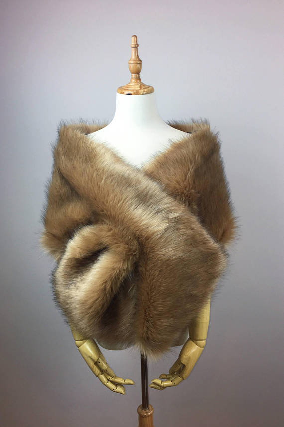 Brown faux fur bridal wrap stole cape (Lilian Brw04)