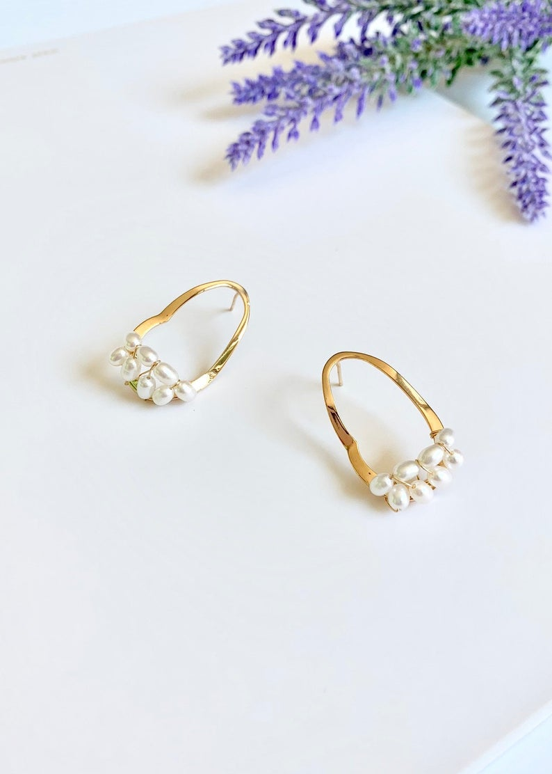 14K Gold Filled Wire Wrapped / Tiny Freshwater Pearl Earrings