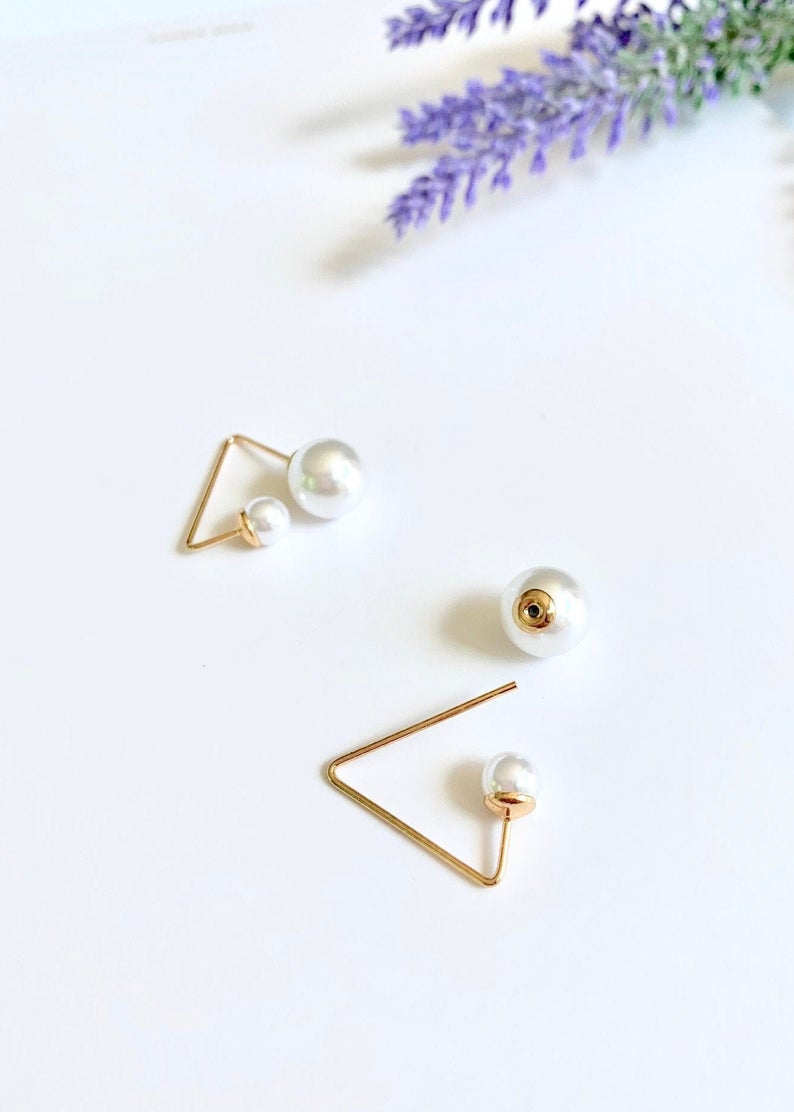 Unique Pearl Geometric Stud Earrings / 14K Gold Triangle /  Bridal Party Gifts