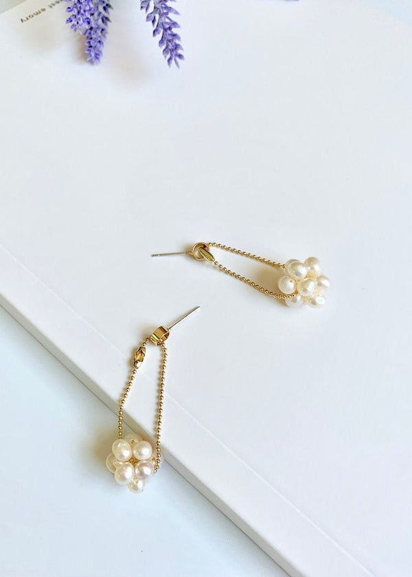 14K Gold Filled / Freshwater Pearl Ball Dangle Drop Earrings / Bridal Party Gifts