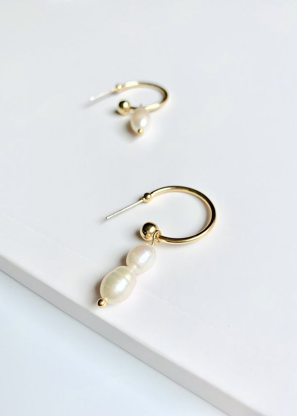 14K Gold Plated Hoop / Asymmetrical Freshwater Pearl Drop Earrings / Bridal Party Gifts