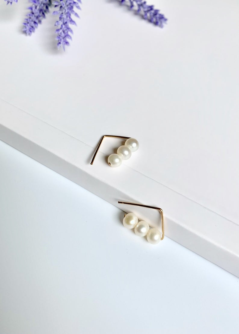 14K Gold Filled Geometric Triangle /  Freshwater Pearl Earrings / Bridal Party Gifts