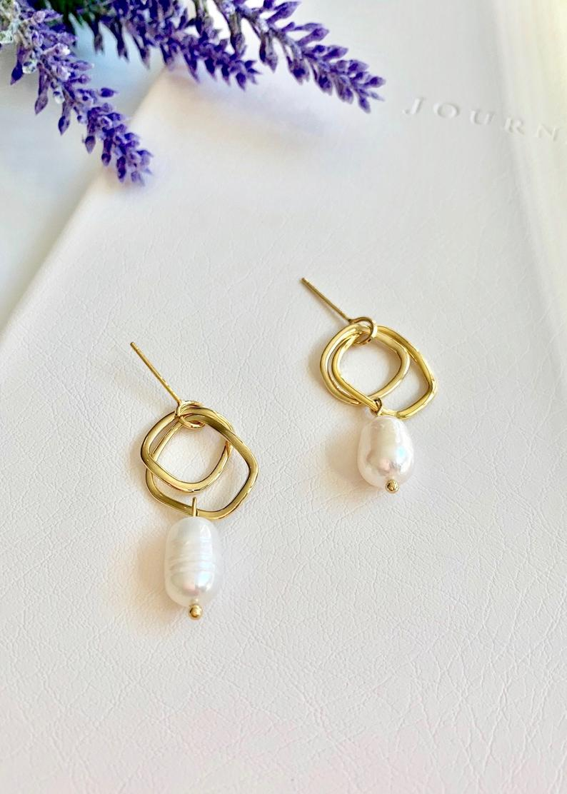 14K Gold Plated Hoop / Freshwater Baroque Pearl Dangle Earrings / Bridal Party Gifts