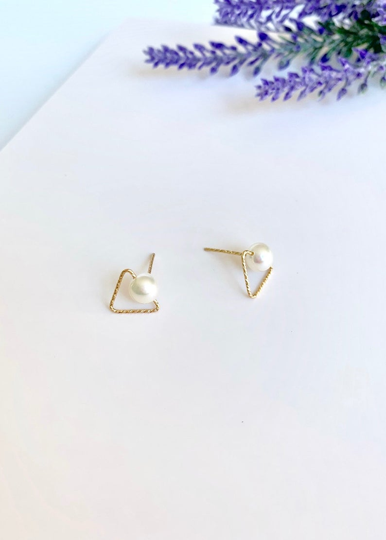Freshwater Pearl Stud Geometric Earrings / 14K Gold Triangle /  Bridal Party Gifts