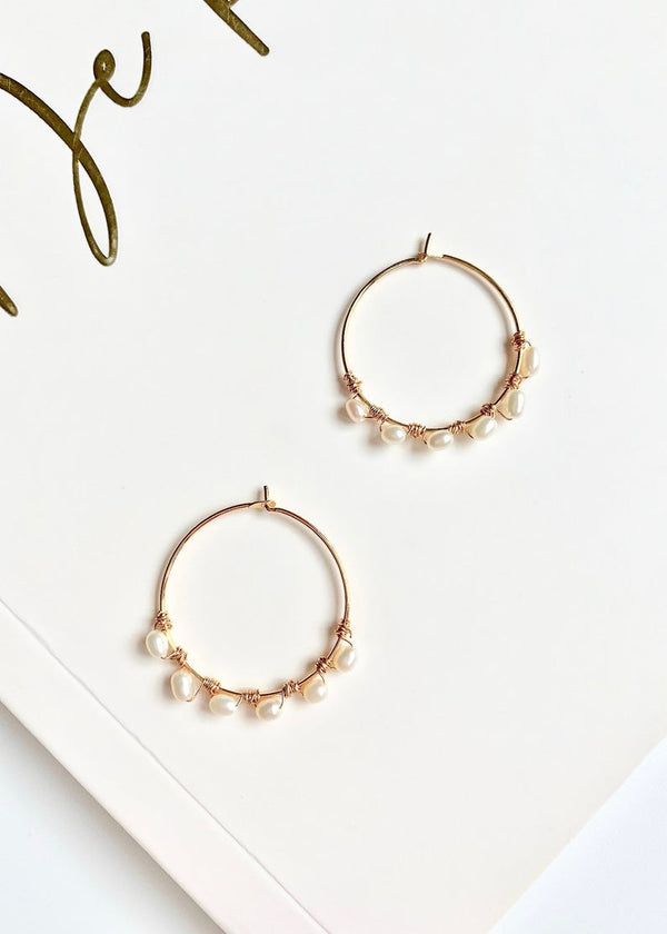 Mini / Tiny Pearl Hoop Earrings / 14K Gold / Bridal Party Gifts