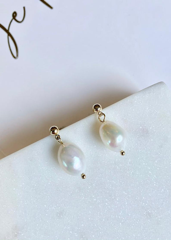 12mm Large Freshwater Baroque Pearl Classic Drop Earrings / 14K Gold / 925 sterling silver