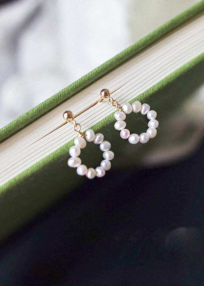 Tiny / Mini Pearl Hoop Drop Earrings / 14K Gold / Bridal Party Gifts