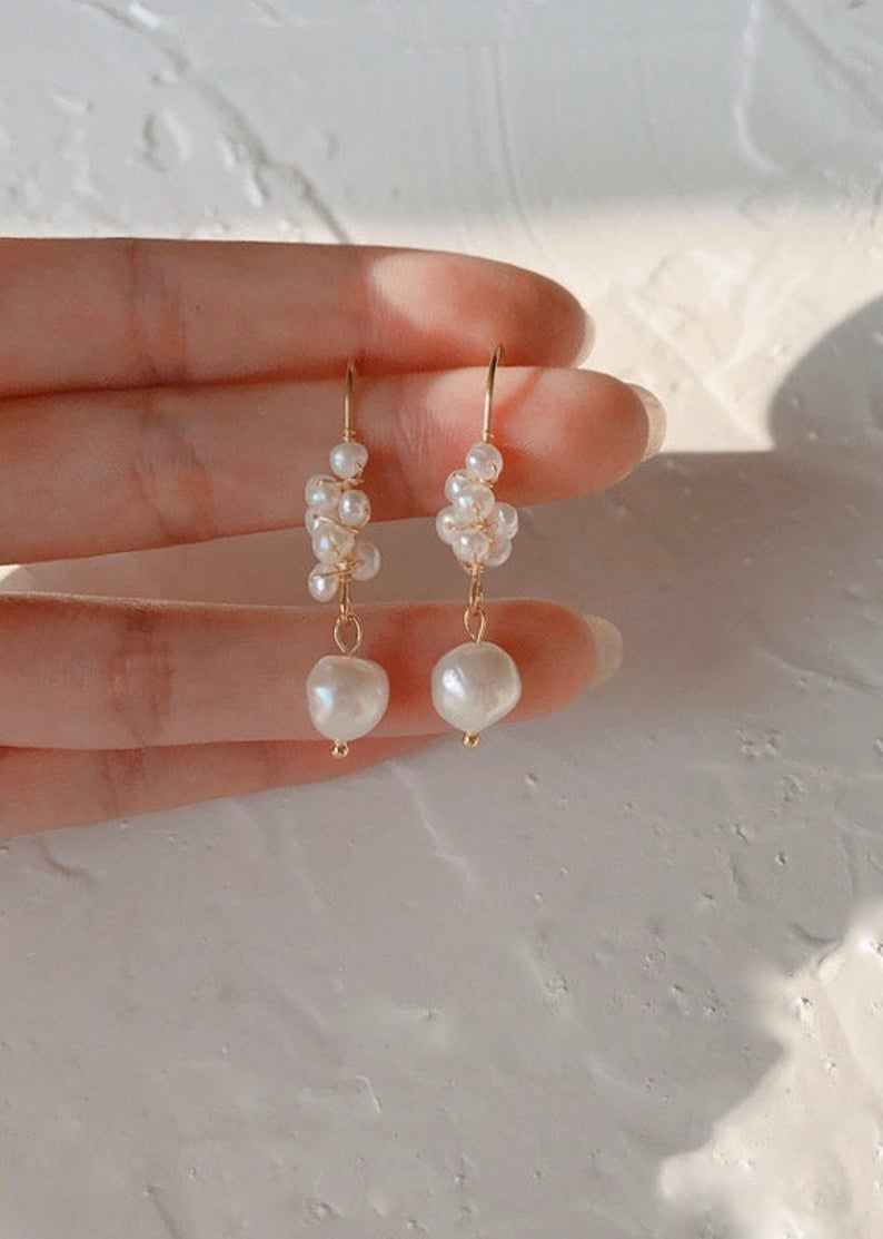 14K Gold Filled / Baroque Pearl Handmade Drop Dangle Earrings / Bridal Party Gifts
