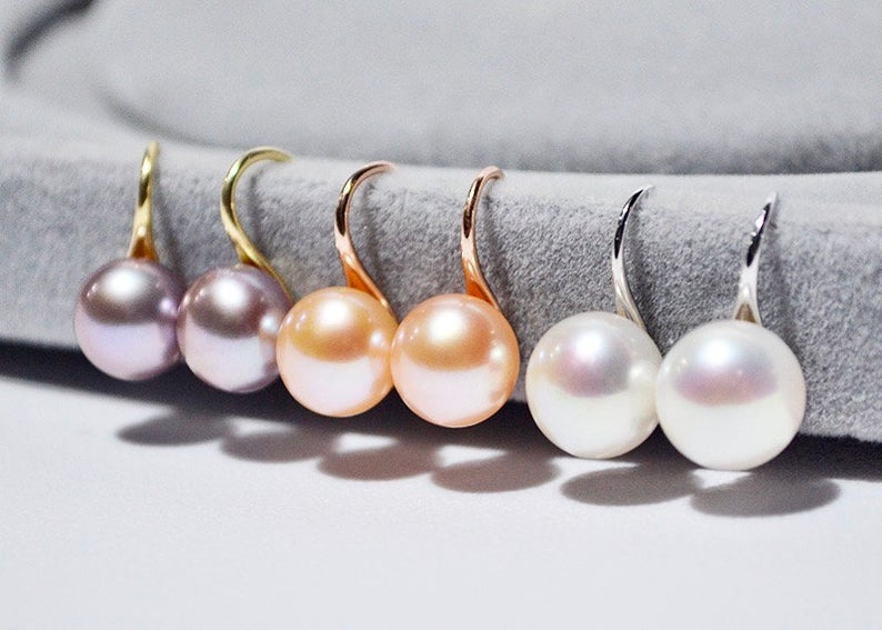 7mm Classic Freshwater Pearl Earrings / 14K Gold Plated