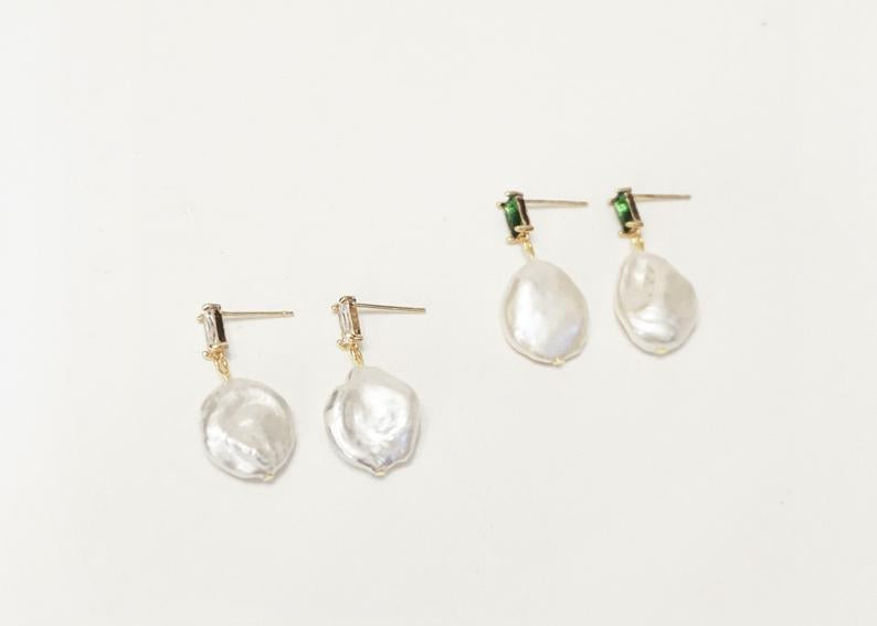 Large Baroque Pearl Drop Bridal Earrings / 14K Gold / Bridal Party Gifts