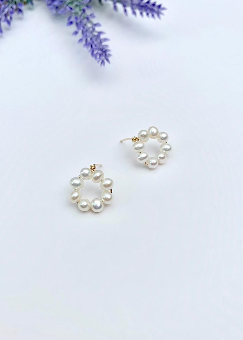 Tiny / Mini Pearl Hoop Earrings / 14K Gold / Bridal Party Gifts