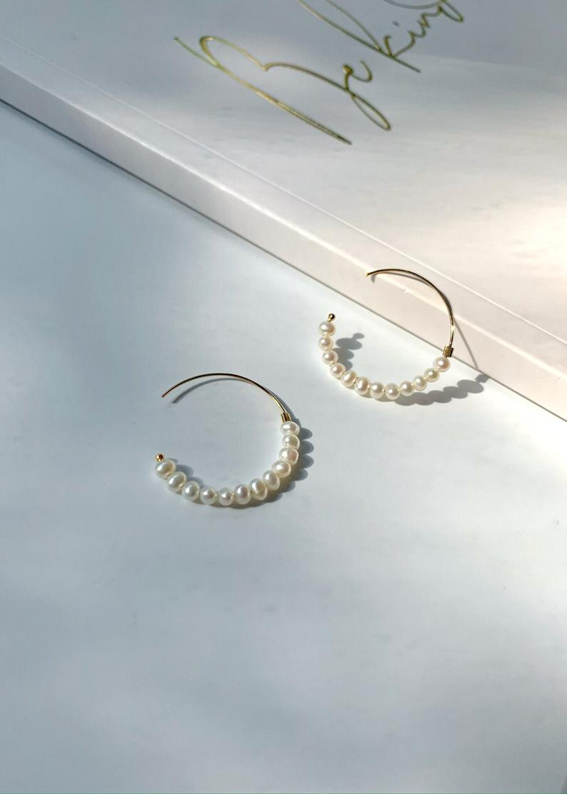 14K Gold Filled / Freshwater Tiny Pearl Hoop Earrings