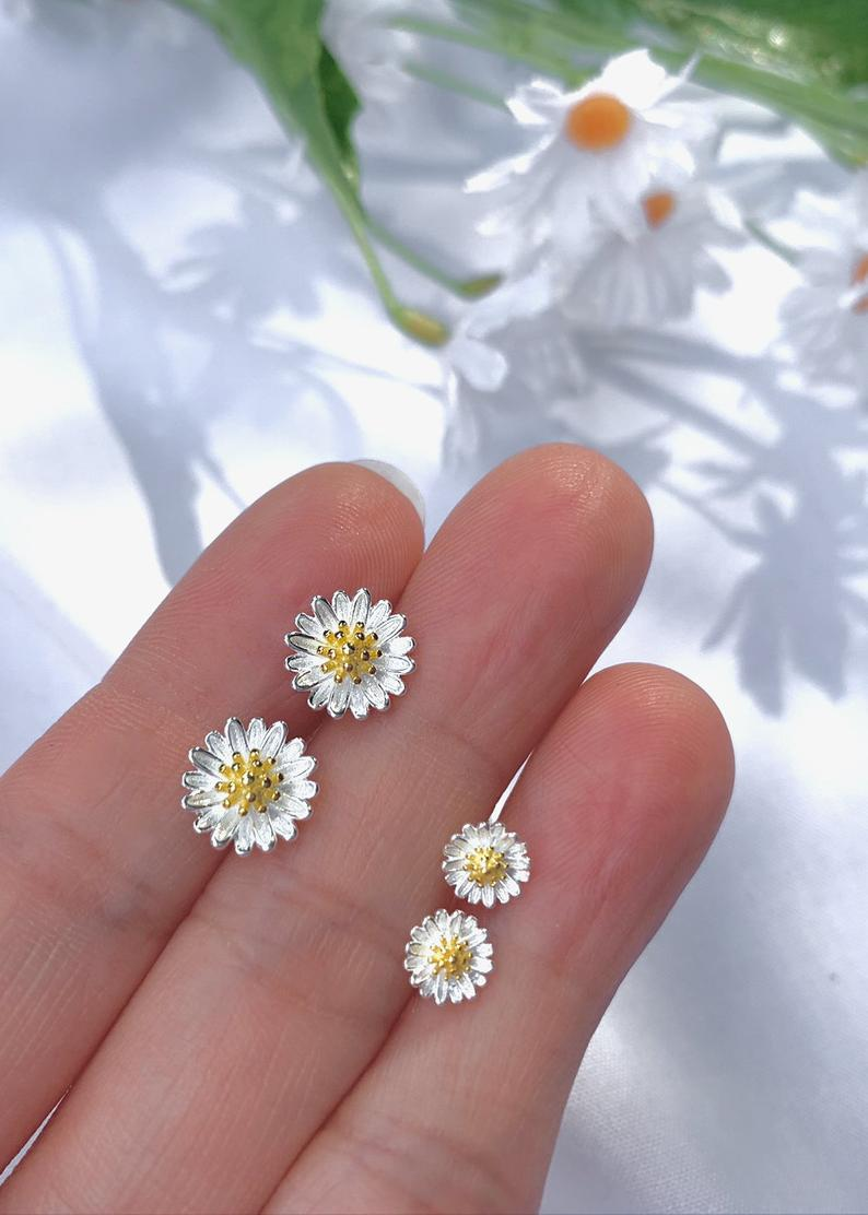 Two Tone Daisy Flower Delicate Stud Earrings / Flower Girl Gifts