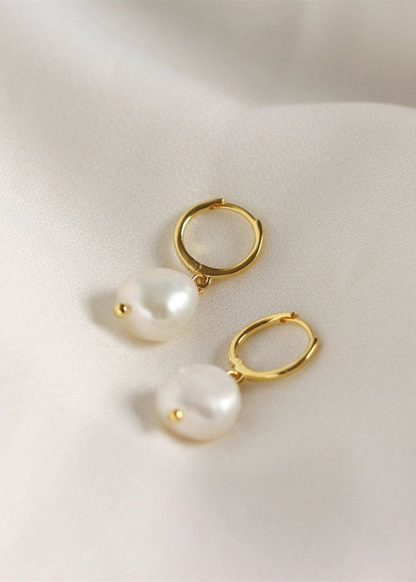 8mm Large Freshwater Baroque Pearl Modern Drop Earrings / 14K Gold Filled
