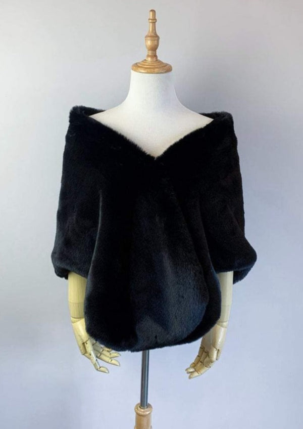 Black Faux Fur Shawl (Butterfly Blk05)