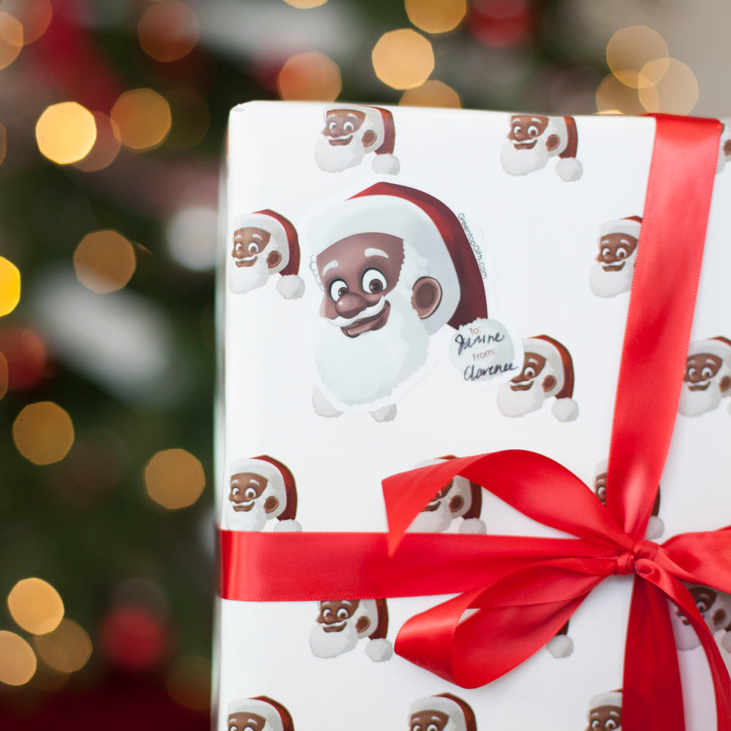 Greentop Gifts - Clarence Claus™ Close Up Gift Wrap