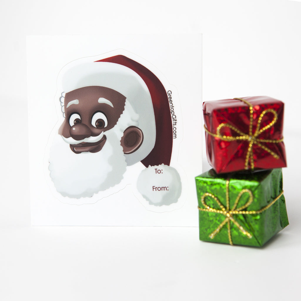 Clarence Claus™ Gifts Wrap, black santa claus greentop
