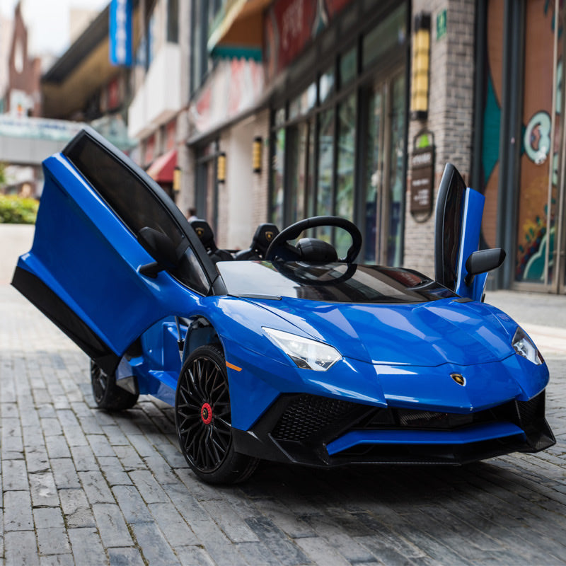 Licensed Lamborghini Aventador SV 12V Ride on Car With Remote - Blue