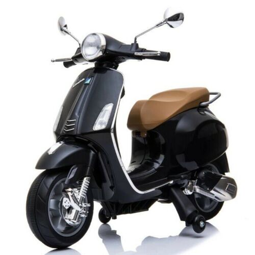 Vespa Primavera 12V Electric Ride On Kids Scooter Children Motorbike - Black