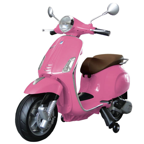 Vespa Primavera 12V Electric Ride On Kids Scooter Children Motorbike - Pink