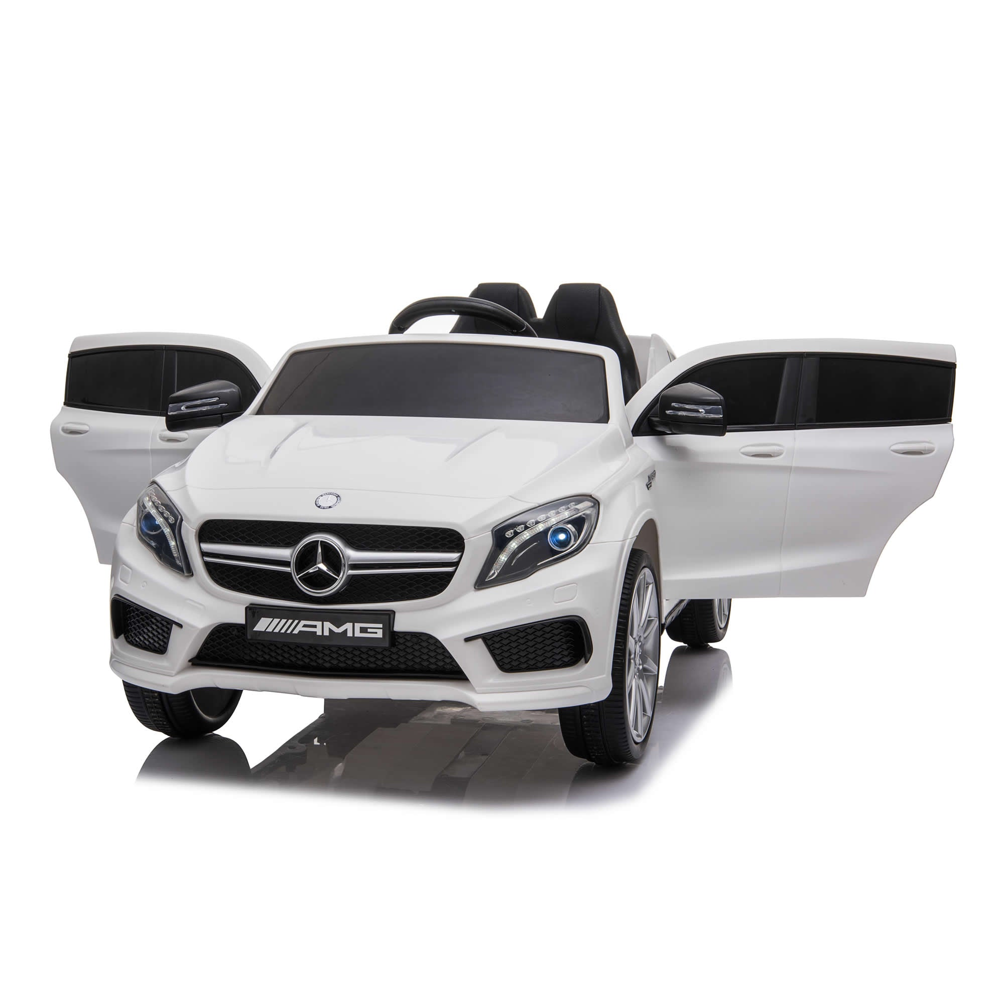 Licensed Mercedes AMG GLA45 12V Kids Ride On Car With High Doors - White